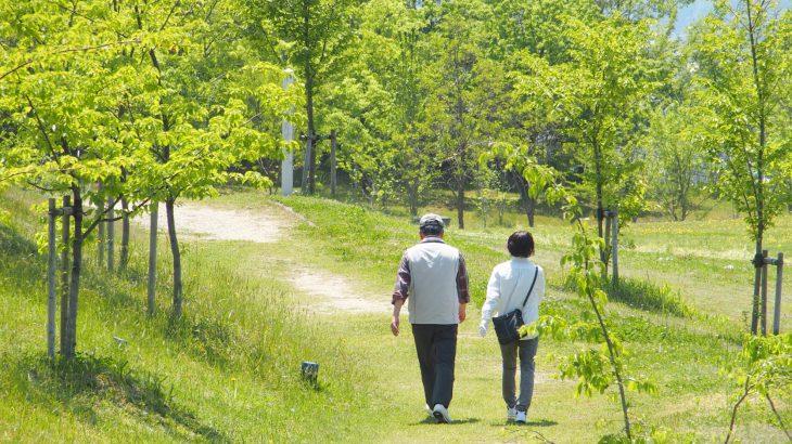 散歩する老夫婦の写真